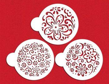 Designer Stencils Whimsical Flower Cookie Stencil Set