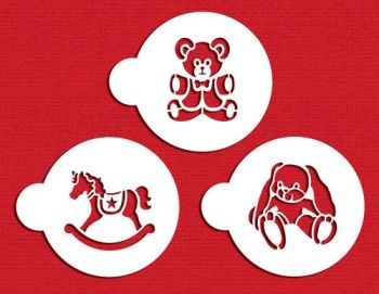 Designer Stencils Teddy Bear, Rocking Horse and Bunny Cookie Set