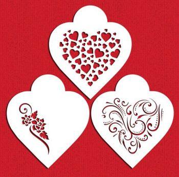Designer Stencils Contemporary Hearts Cookie Stencil