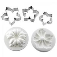 Global Sugar Art: Alan Tetreault Petunia Flower Cutter Set of 3 and Silicone Veiner by Chef Alan Tetreault