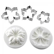 Global Sugar Art: Alan Tetreault Petunia Flower Cutter Set of 3 and Silicone Veiner by Chef Alan Tetreault