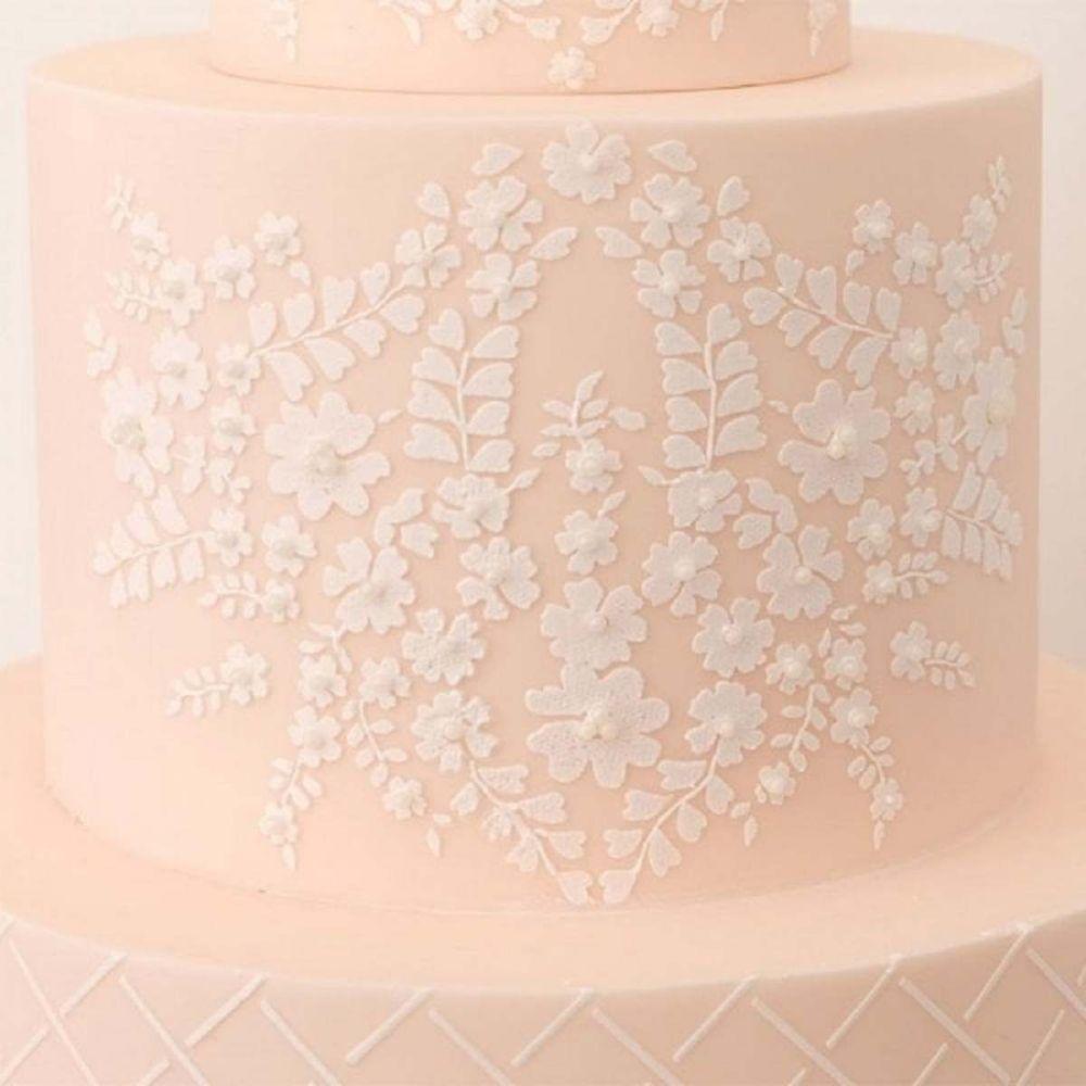 Evil Cake Genius: Bodice Lace Cropped professional cake stencil #23
