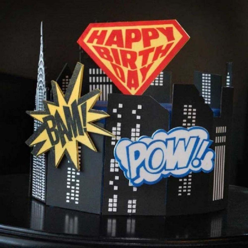 Evil Cake Genius: Super Birthday Shield & Comic Elements 3 pc mesh cake ste