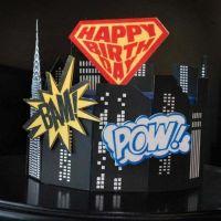 Evil Cake Genius: Super Birthday Shield & Comic Elements 3 pc mesh cake stencil set #18