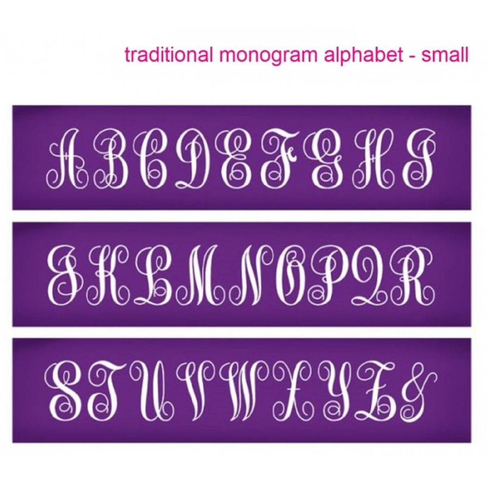 Evil Cake Genius: Traditional Monogram Small Alphabet mesh cake stencil set
