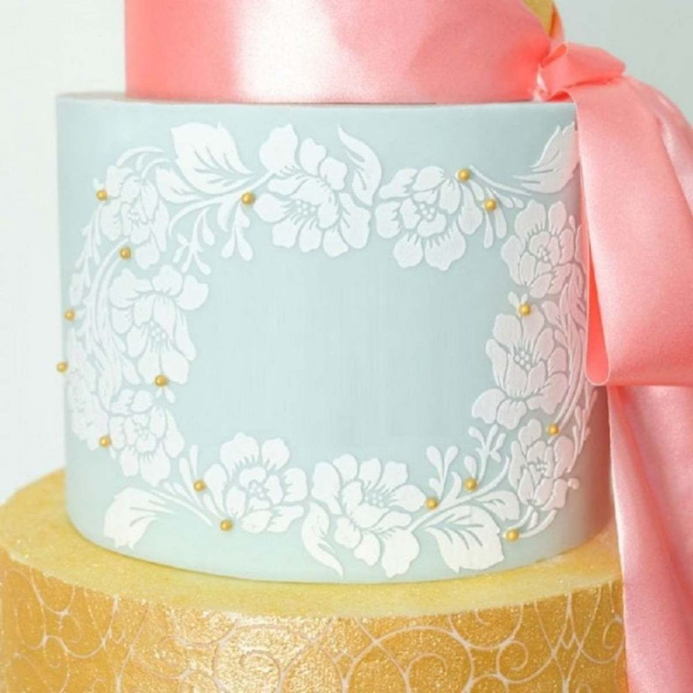 Evil Cake Genius: Rose Lace Wreath professional cake stencil #31