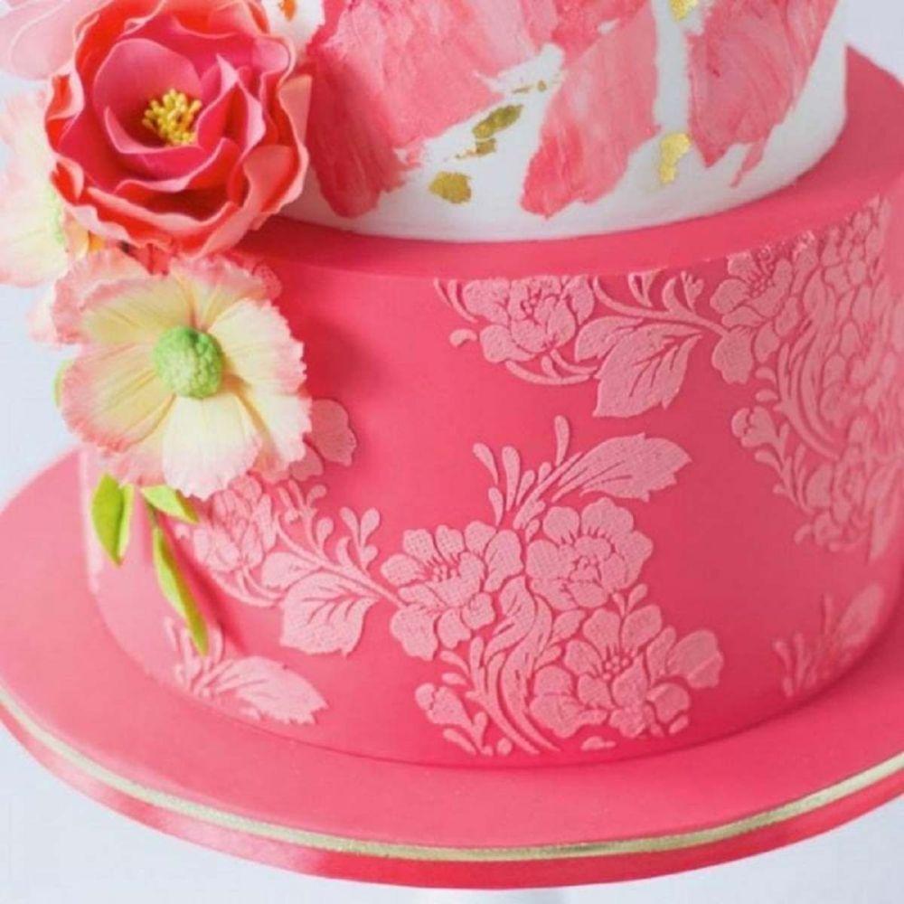 Evil Cake Genius: Rose Lace Tall professional cake stencil #35