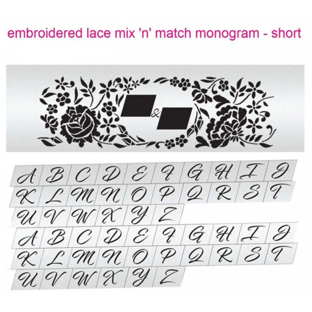 Evil Cake Genius Embroidered Lace Mix & Match Monogram Short cake stencil s