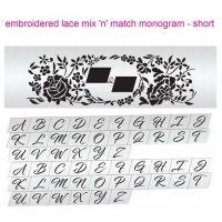 Evil Cake Genius: Embroidered Lace Mix & Match Monogram Short cake stencil set #8SH by Julie Deffense