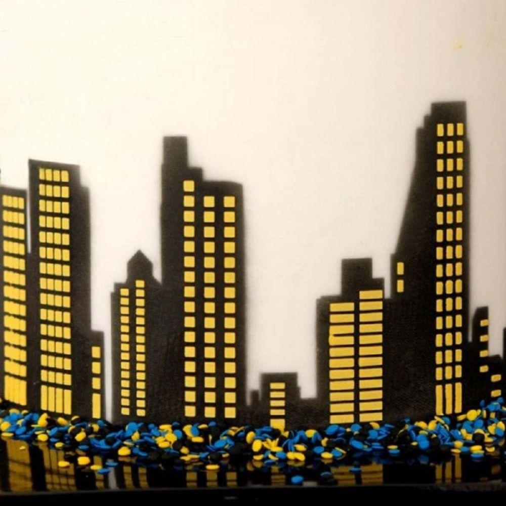 Evil Cake Genius City Skyline Windows & Mask professional cake stencil #17