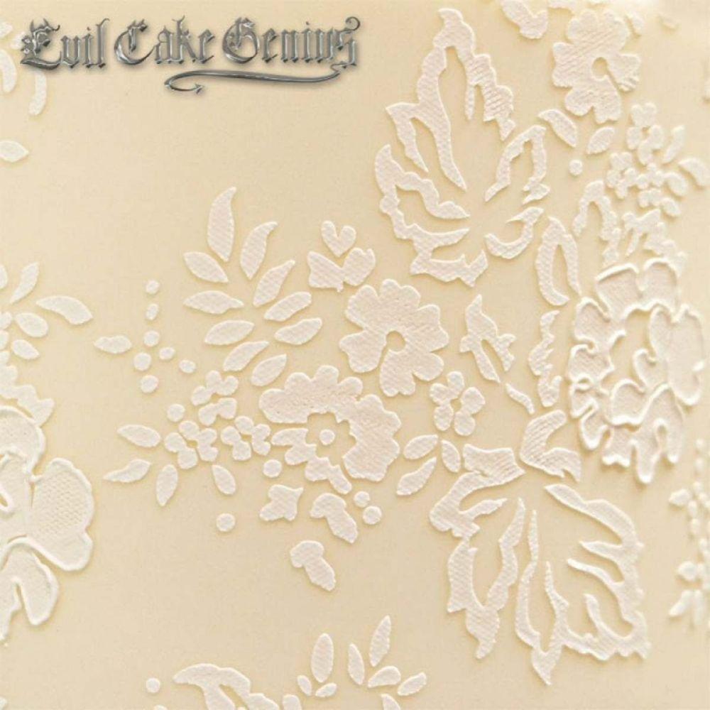 Evil Cake Genius: Chantilly Lace Leaf Shortened professional cake stencil #