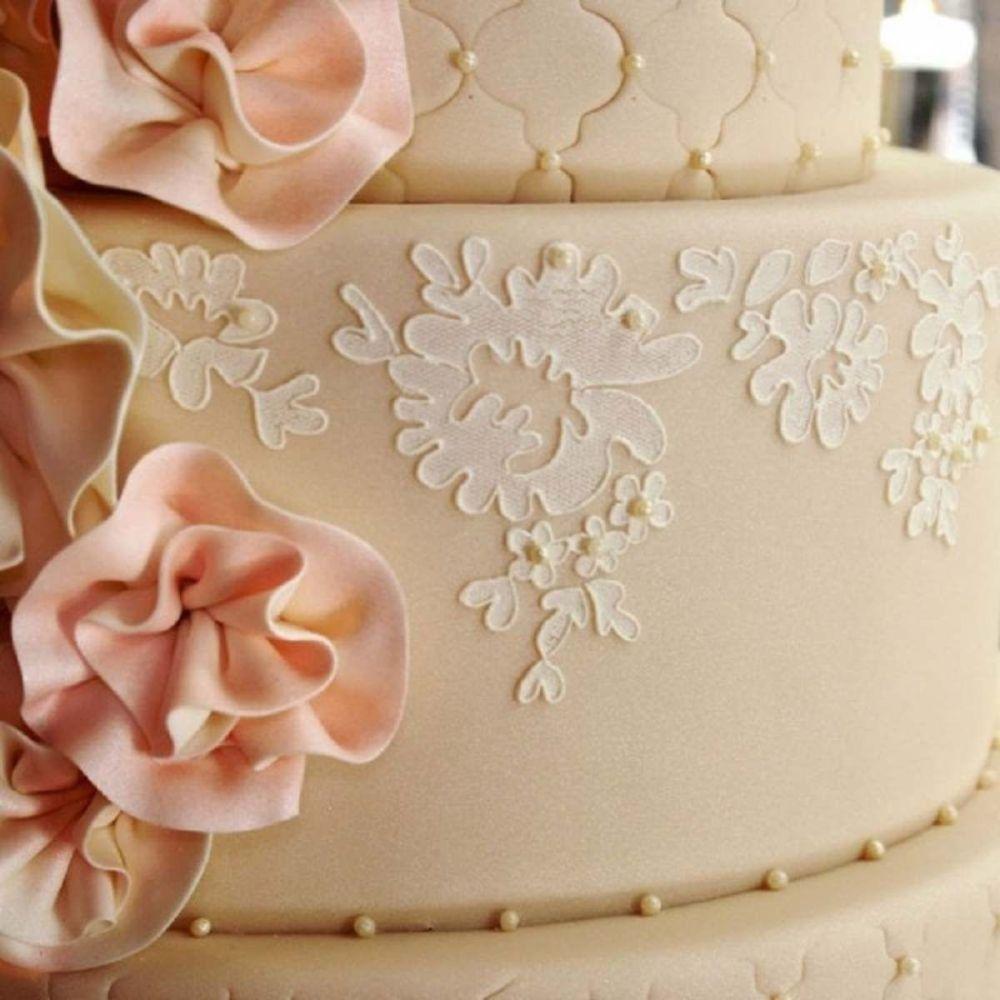Evil Cake Genius: Alencon Lace Border professional cake stencil #1