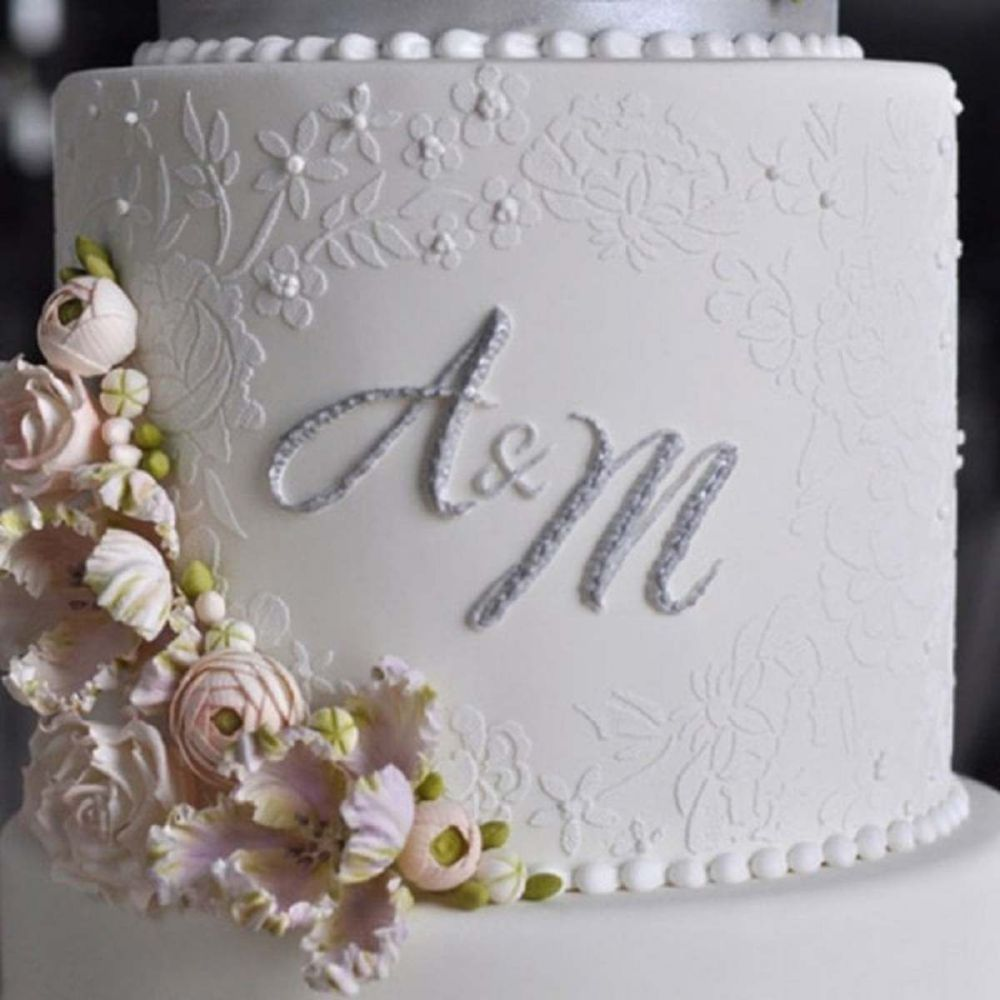 Evil Cake Genius: Embroidered Lace Mix & Match Monogram double barrel cake
