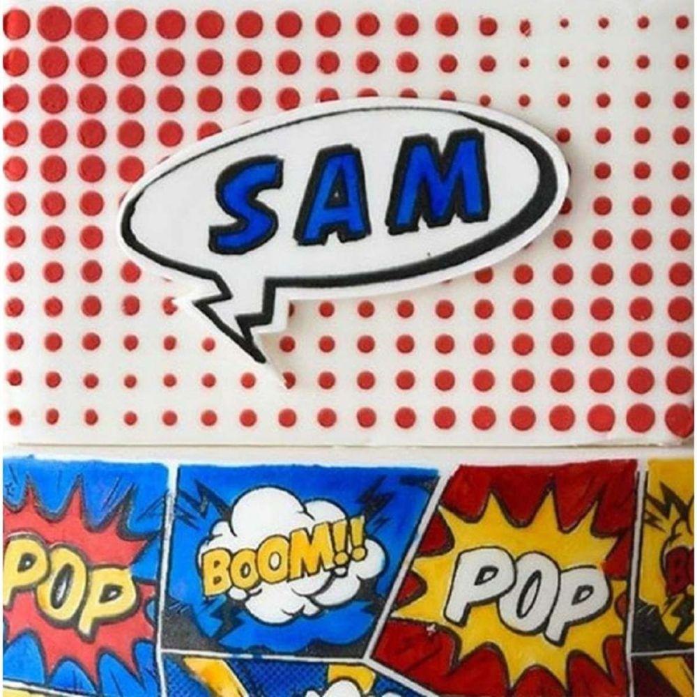 Evil Cake Genius Super Comic Dots Short professional cake stencil #15
