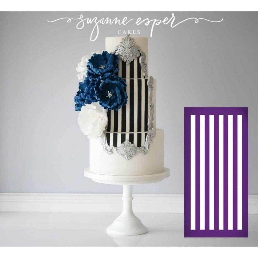 Evil Cake Genius: Horizontal Stripe Half Inch - professional mesh cake sten