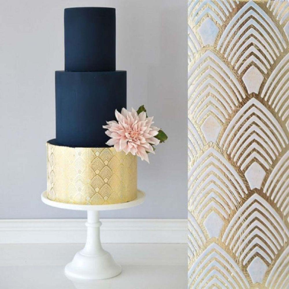 Evil Cake Genius: Art Deco Feathers Double Barrel professional cake stencil
