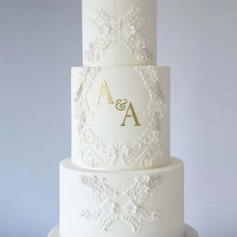 Evil Cake Genius: Alexandria Lace Mix and Match Monogram cake stencil 3 TIE