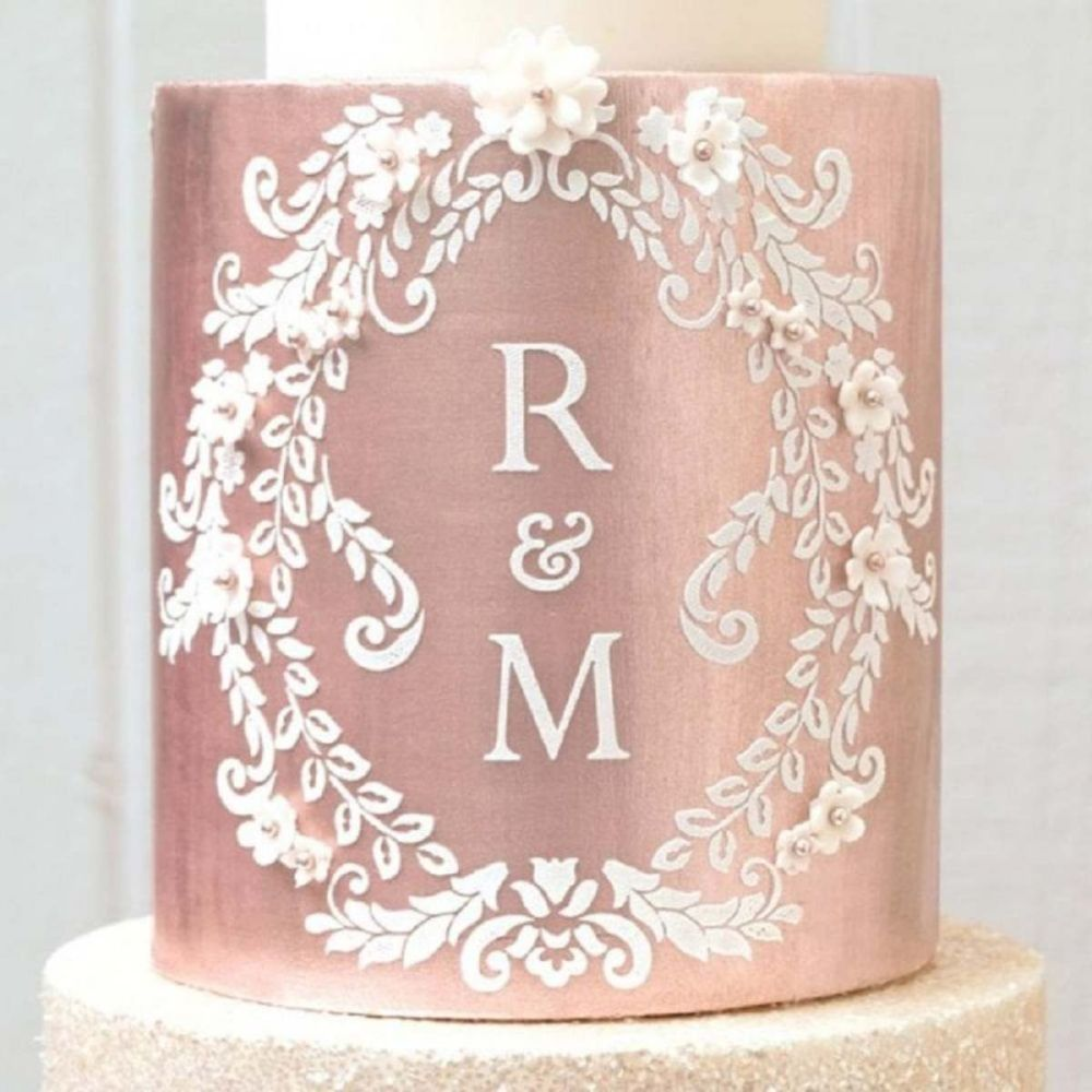 Evil Cake Genius: Alexandria Lace Mix and Match Monogram cake stencil TALL
