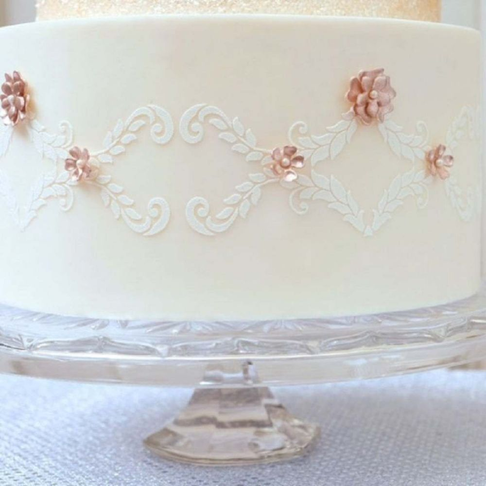 Evil Cake Genius: Alexandria Lace Band professional cake stencil #10 by Suz