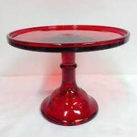 """Mosser Glass 12"""" flint glass cake pedestal stand - Red"""