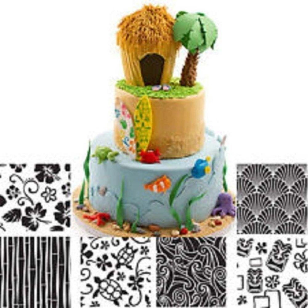 Autumn Carpenter Hawaiian icing texture sheet impression mat 6 pc set