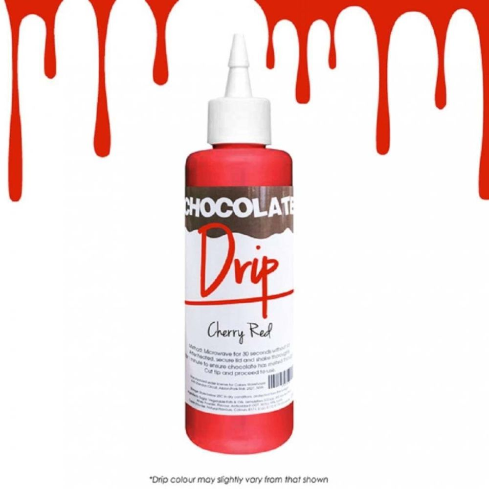 Chocolate Drip CHERRY RED professional choc icing for drip cakes - 250g