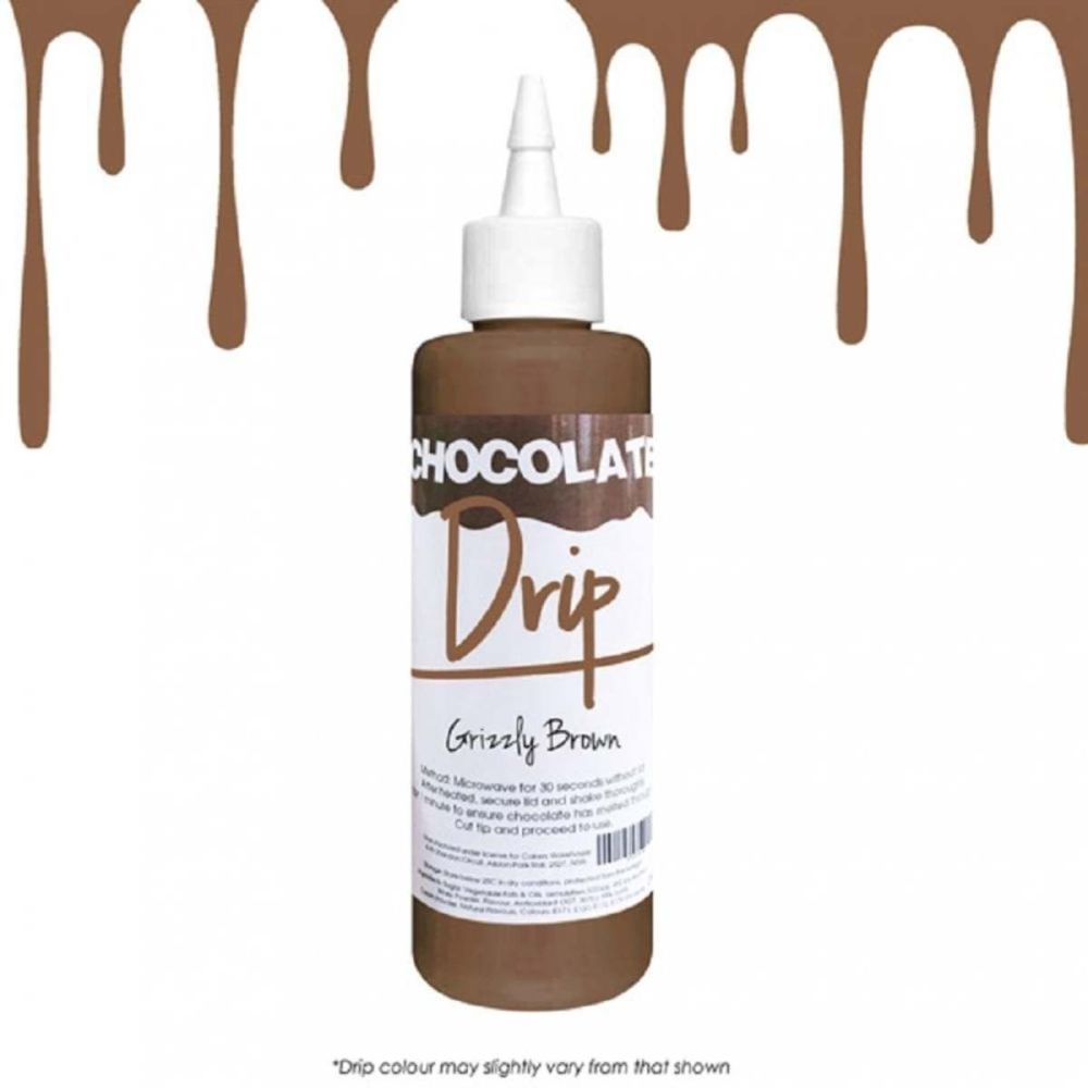 Chocolate Drip GRIZZLY BROWN professional choc icing for drip cakes - 250g