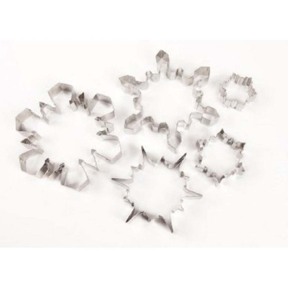 Ateco set 5 LARGE SNOWFLAKE metal icing pastry cookie cutters in tin