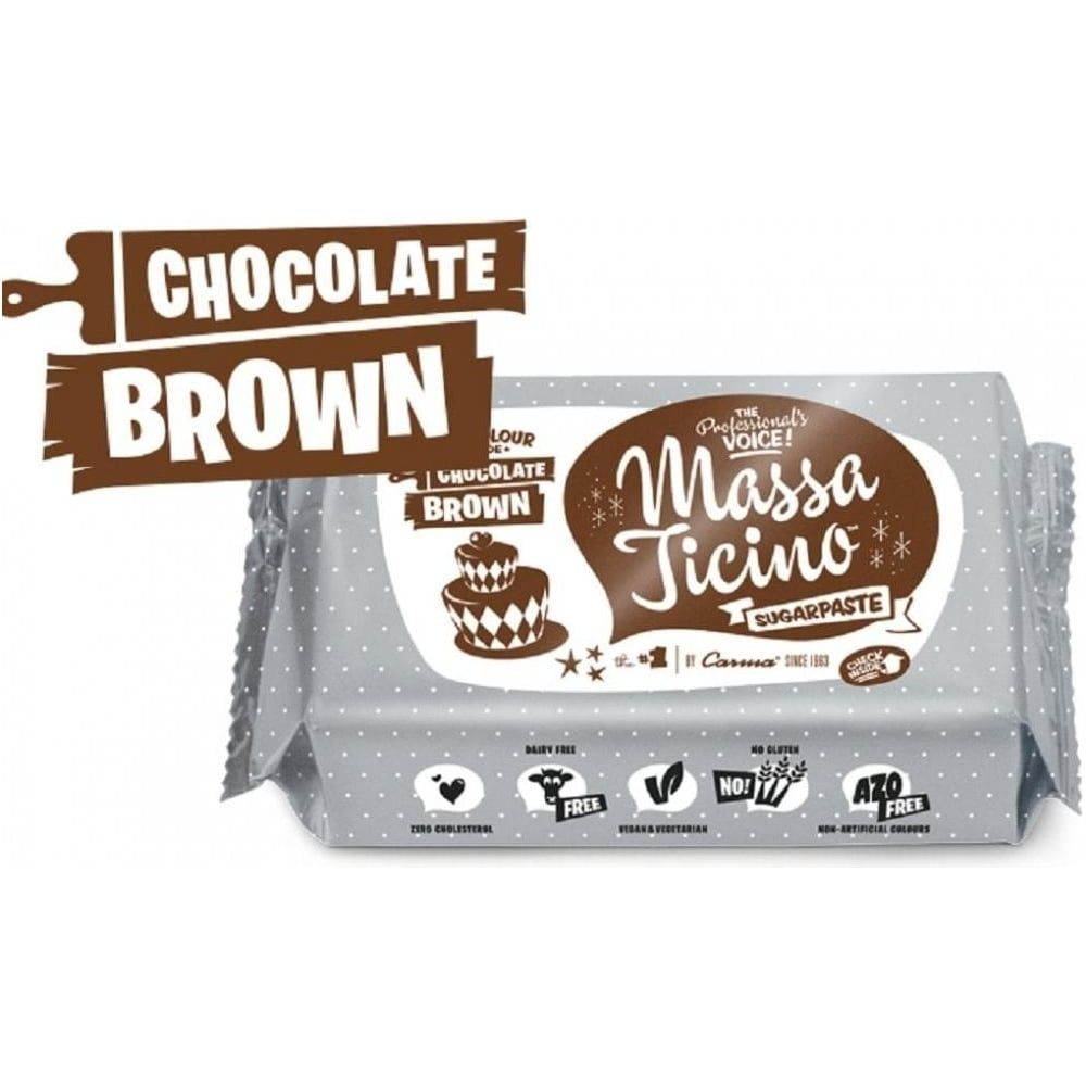 Massa Ticino 250g CHOCOLATE BROWN sugarpaste ready to roll fondant icing