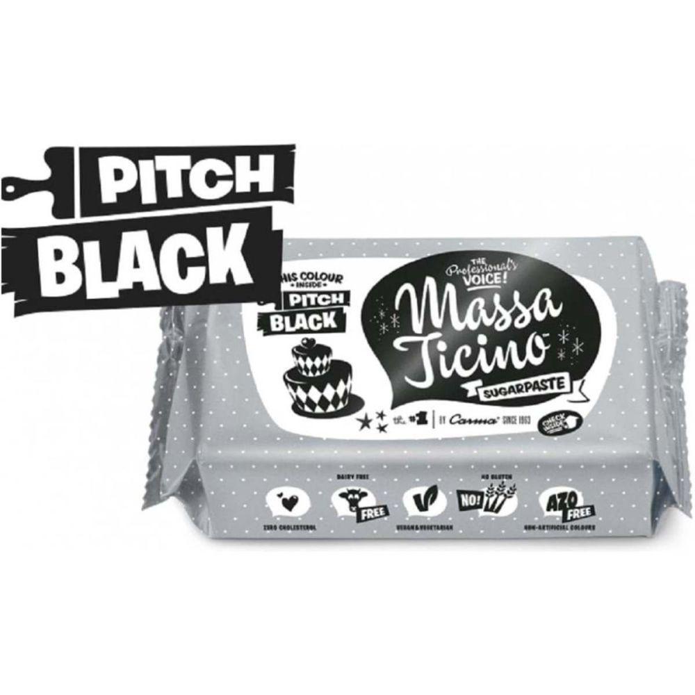 Massa Ticino 250g PITCH BLACK sugarpaste ready to roll fondant icing