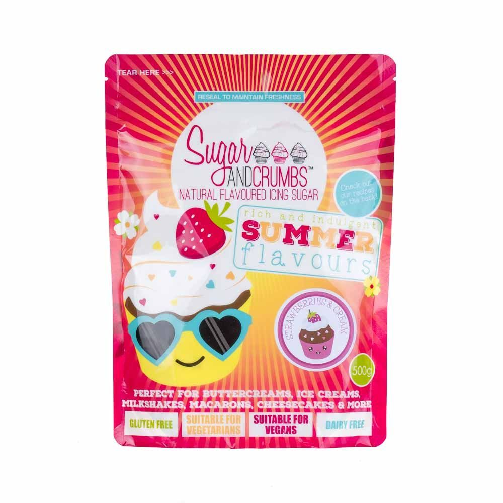 Sugar & Crumbs - Natural Flavoured Icing Sugar - Strawberries & Cream. 6545