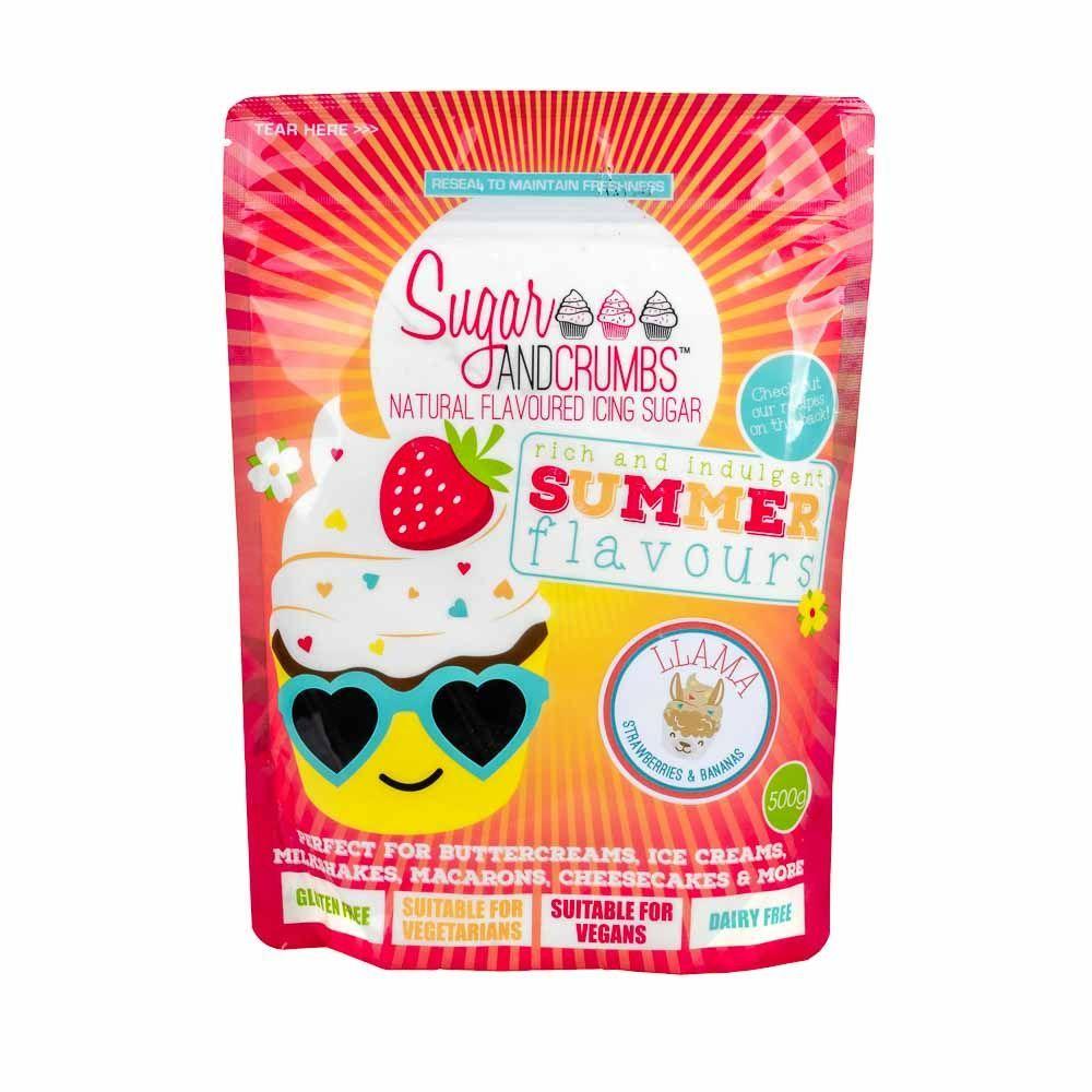 Sugar and Crumbs LLAMA (banana & strawberry) 500g natural flavoured icing s