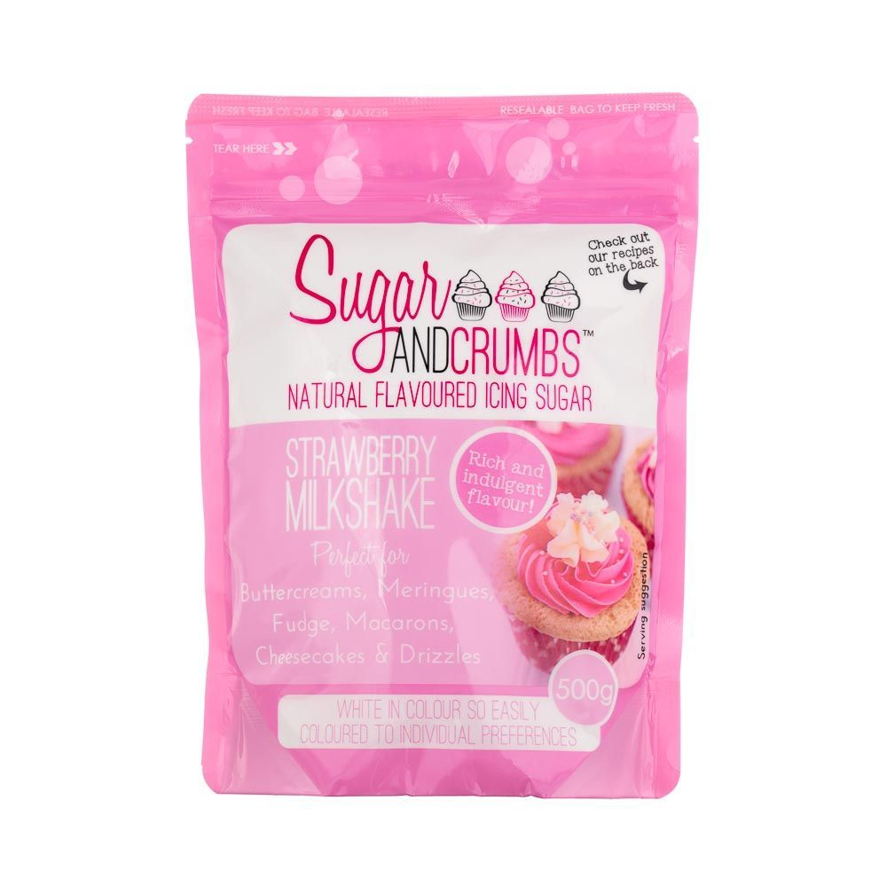 Sugar and Crumbs STRAWBERRY MILKSHAKE 500g natural flavoured icing sugar