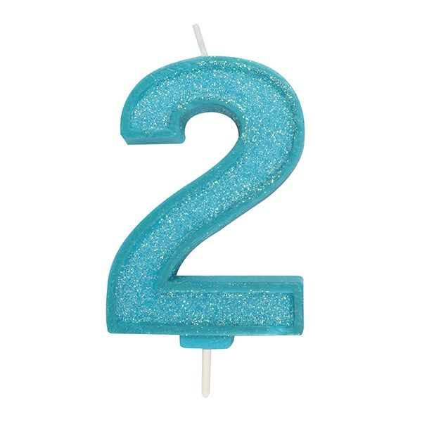 CANDLE-NUMERAL-BLUE SPARKLE-2-70mm