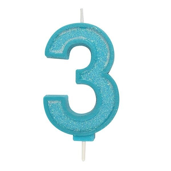 CANDLE-NUMERAL-BLUE SPARKLE-3-70mm