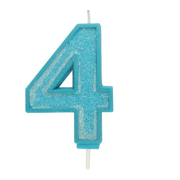 CANDLE-NUMERAL-BLUE SPARKLE-4-70mm
