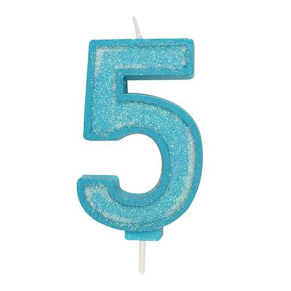 CANDLE-NUMERAL-BLUE SPARKLE-5-70mm