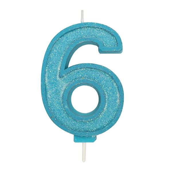 CANDLE-NUMERAL-BLUE SPARKLE-6-70mm