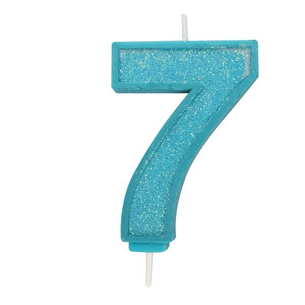 CULPITT: CANDLE-NUMERAL-BLUE SPARKLE-7-70mm - PACK OF 1. 613809