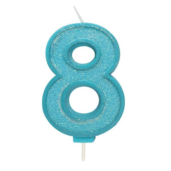 CANDLE-NUMERAL-BLUE SPARKLE-8-70mm