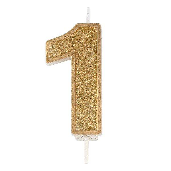 CANDLE-NUMERAL-GOLD SPARKLE-1-70mm