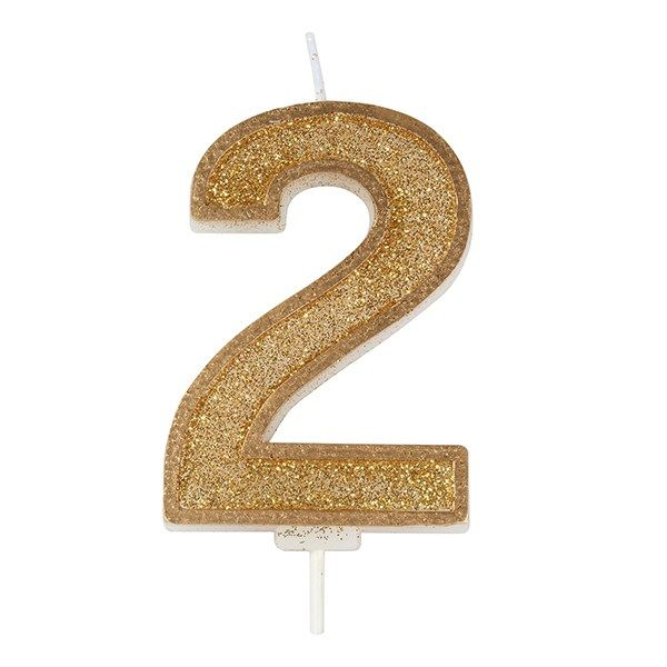 CULPITT: CANDLE-NUMERAL-GOLD SPARKLE-2-70mm