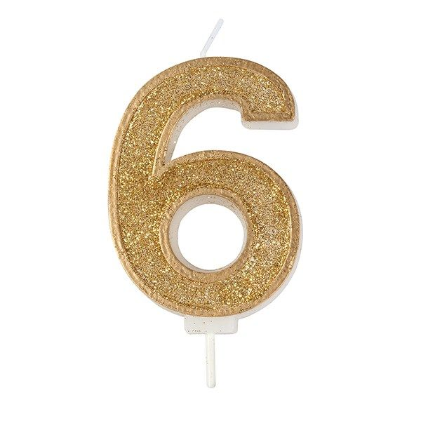 CULPITT: CANDLE-NUMERAL-GOLD SPARKLE-6-70mm