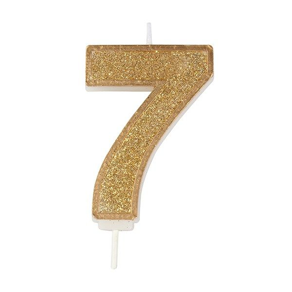 CULPITT: CANDLE-NUMERAL-GOLD SPARKLE-7-70mm