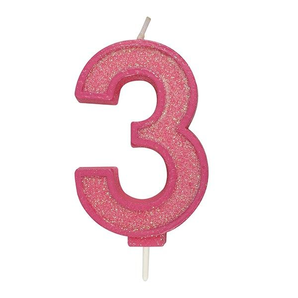CULPITT: CANDLE-NUMERAL-PINK SPARKLE-3-70mm
