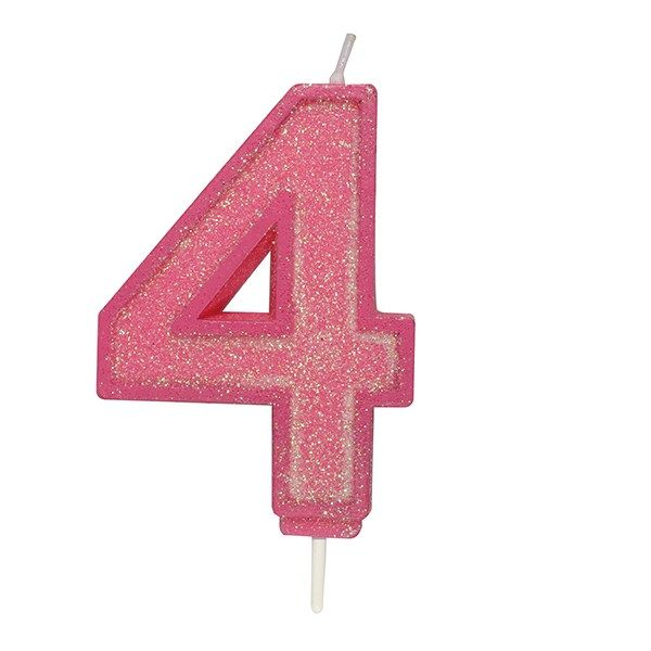 CULPITT: CANDLE-NUMERAL-PINK SPARKLE-4-70mm