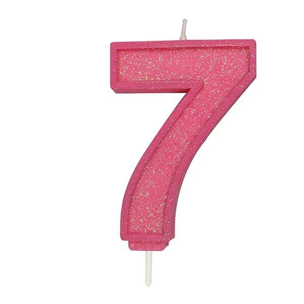 CULPITT: CANDLE-NUMERAL-PINK SPARKLE-7-70mm