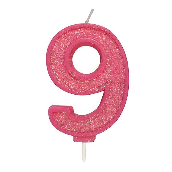 CULPITT: CANDLE-NUMERAL-PINK SPARKLE-9-70mm