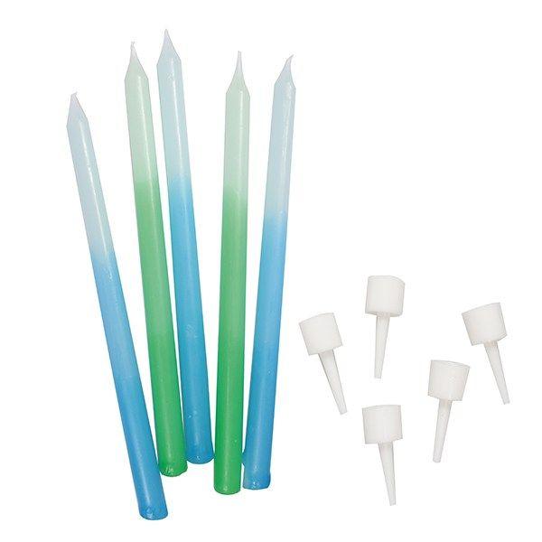 CULPITT: CANDLE-OMBRE-BLUE/GREEN-12 PCE-100mm