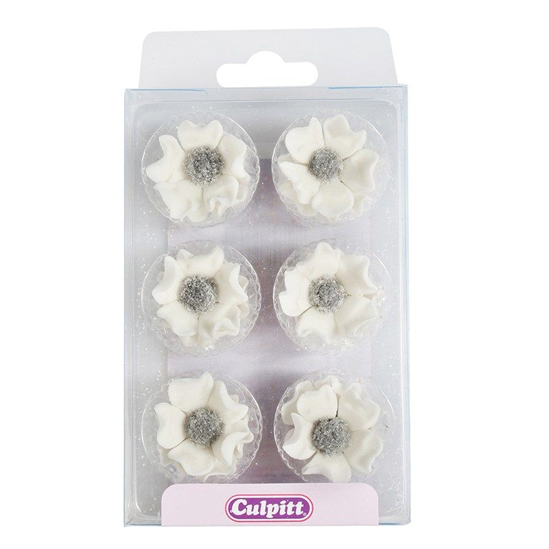 CULPITT: SUGARDEC-PIPING-ANEMONE-WHI-12PC-RP-28mm